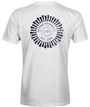 T-Shirt - Distressed Tire Logo - Back - White